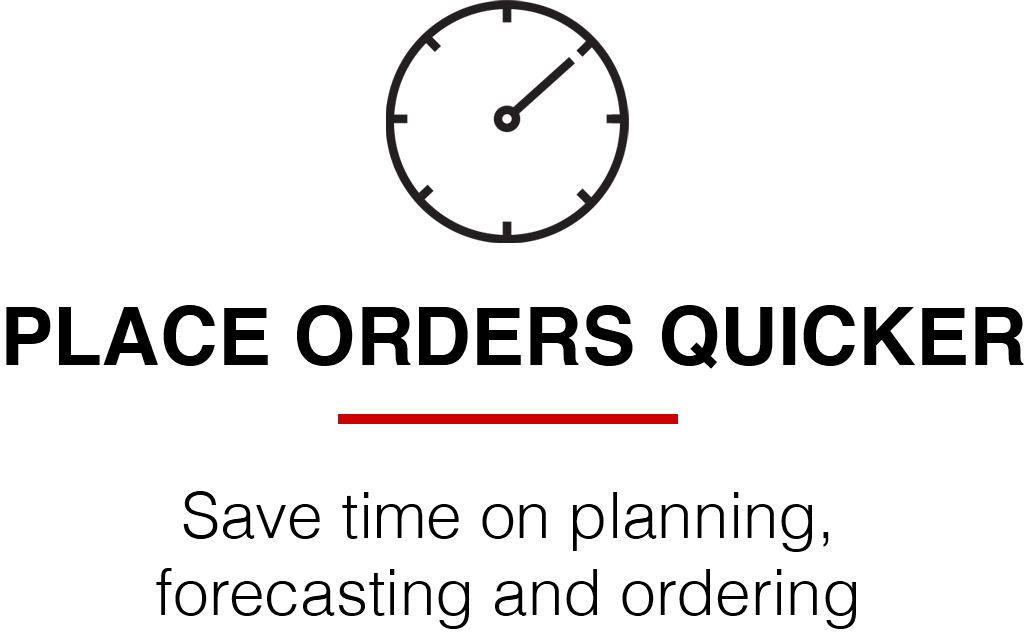 Place orders quicker icon landing page