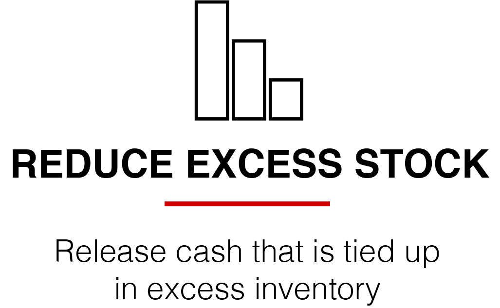 Reduce excess stock icon landing page
